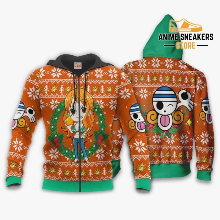 Nami Ugly Christmas Sweater One Piece Anime Xmas Gift Va10 Zip Hoodie / S All Over Printed Shirts