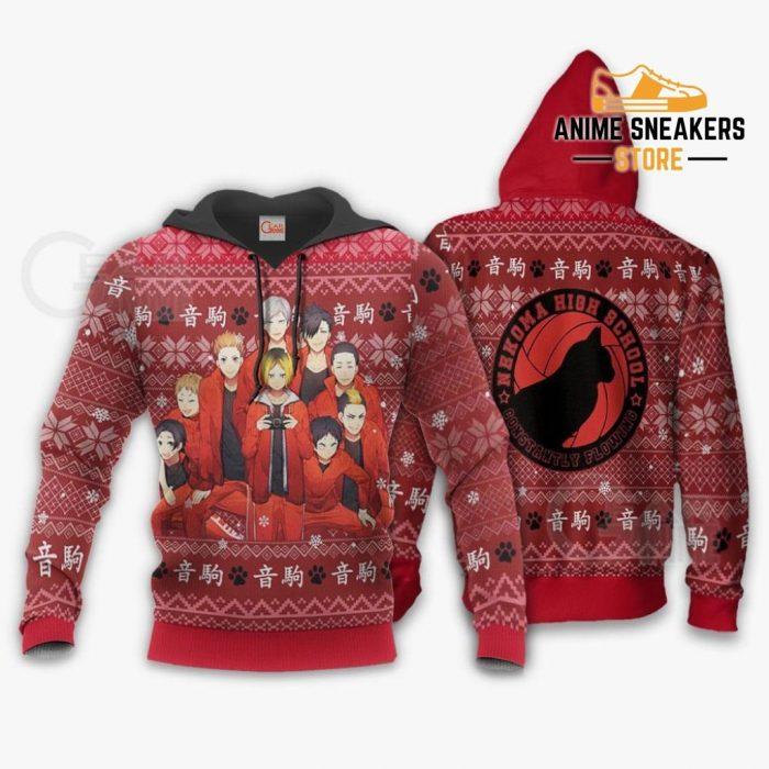 Nekoma High Ugly Christmas Sweater Haikyuu Anime Xmas Shirt Va10 Hoodie / S All Over Printed Shirts