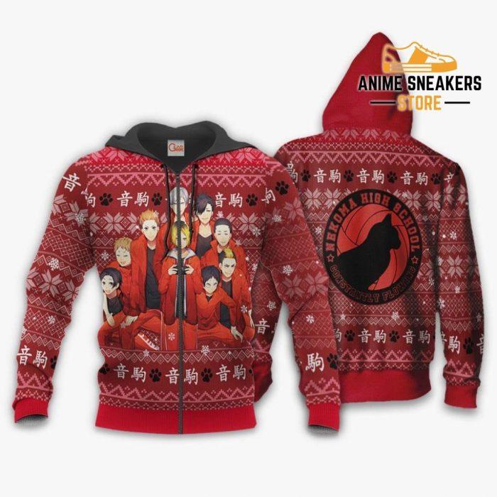 Nekoma High Ugly Christmas Sweater Haikyuu Anime Xmas Shirt Va10 Zip Hoodie / S All Over Printed