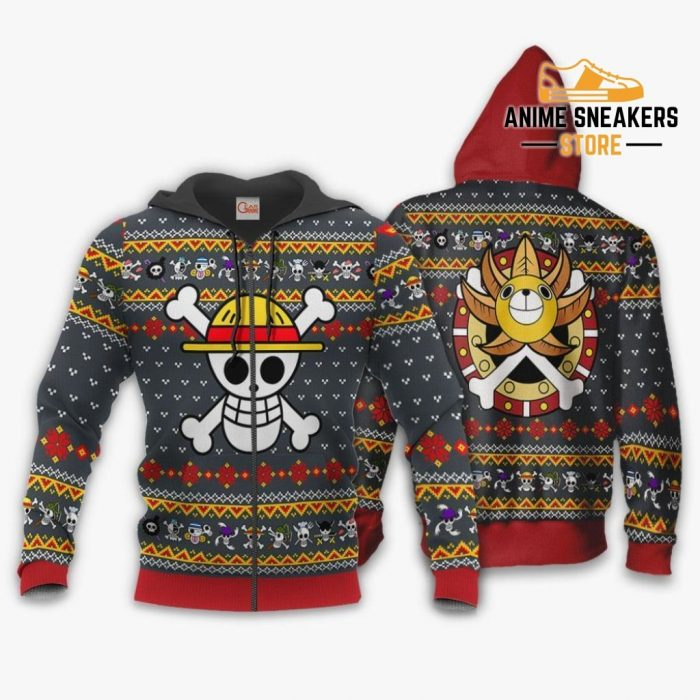 One Piece Ugly Christmas Sweater Straw Hat Priate Xmas Gift Va10 Zip Hoodie / S All Over Printed