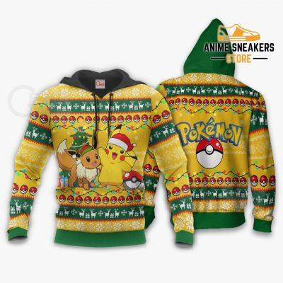 Pikachu Eevee Ugly Christmas Sweater Pokemon Anime Xmas Gift Va11 Hoodie / S All Over Printed Shirts