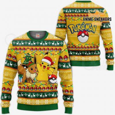 Pikachu Eevee Ugly Christmas Sweater Pokemon Anime Xmas Gift Va11 / S All Over Printed Shirts