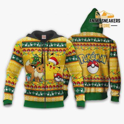 Pikachu Eevee Ugly Christmas Sweater Pokemon Anime Xmas Gift Va11 Zip Hoodie / S All Over Printed