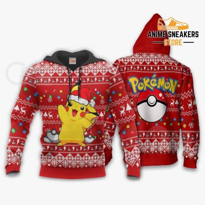 Pikachu Santa Ugly Christmas Sweater Pokemon Anime Xmas Gift Hoodie / S All Over Printed Shirts