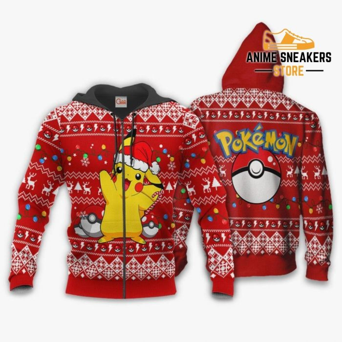 Pikachu Santa Ugly Christmas Sweater Pokemon Anime Xmas Gift Zip Hoodie / S All Over Printed Shirts