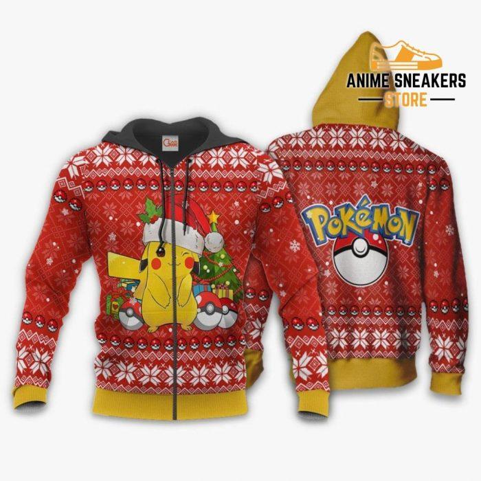 Pikachu Ugly Christmas Sweater Pokemon Anime Xmas Gift Zip Hoodie / S All Over Printed Shirts