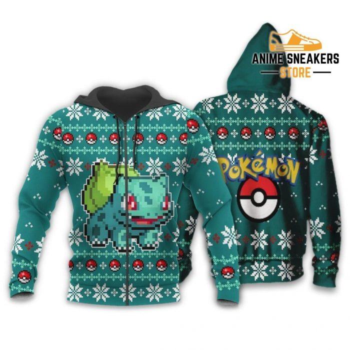 Pokemon Bulbasaur Ugly Christmas Sweater Custom Xmas Gift Zip Hoodie / S All Over Printed Shirts