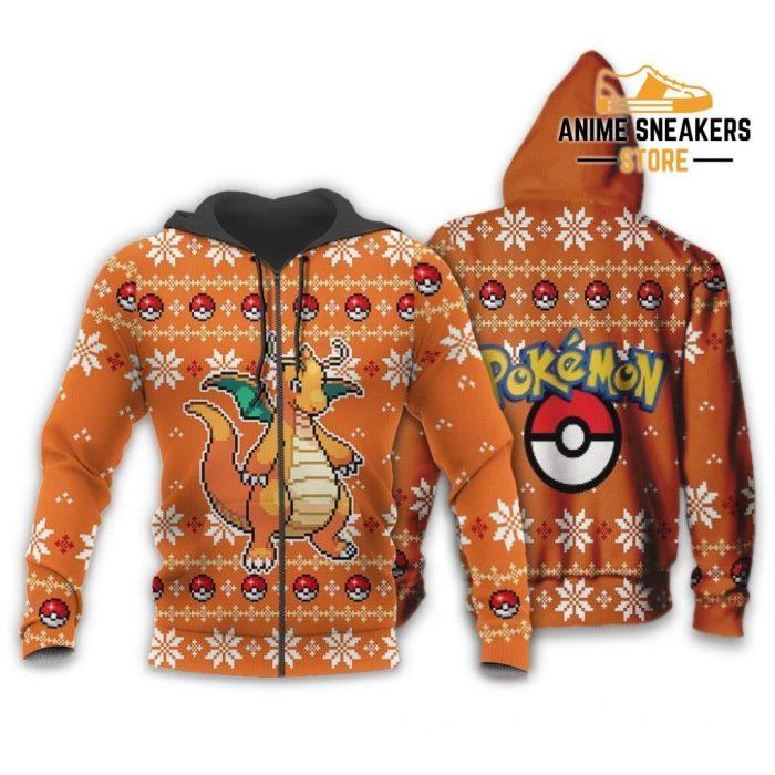 Pokemon Dragonite Ugly Christmas Sweater Custom Xmas Gift Zip Hoodie / S All Over Printed Shirts