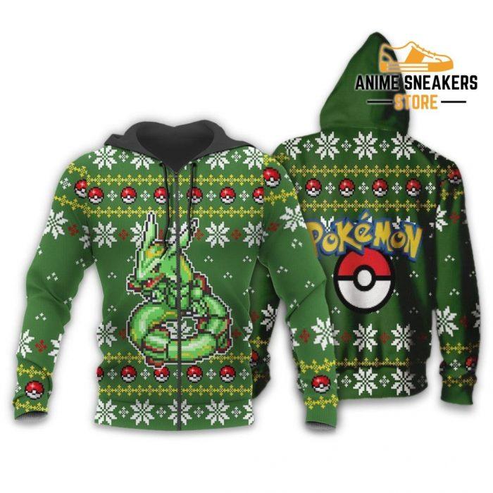 Pokemon Rayquaza Ugly Christmas Sweater Custom Xmas Gift Zip Hoodie / S All Over Printed Shirts