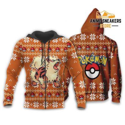 Pokemon Ugly Christmas Sweater Custom Arcanine Xmas Gift Zip Hoodie / S All Over Printed Shirts