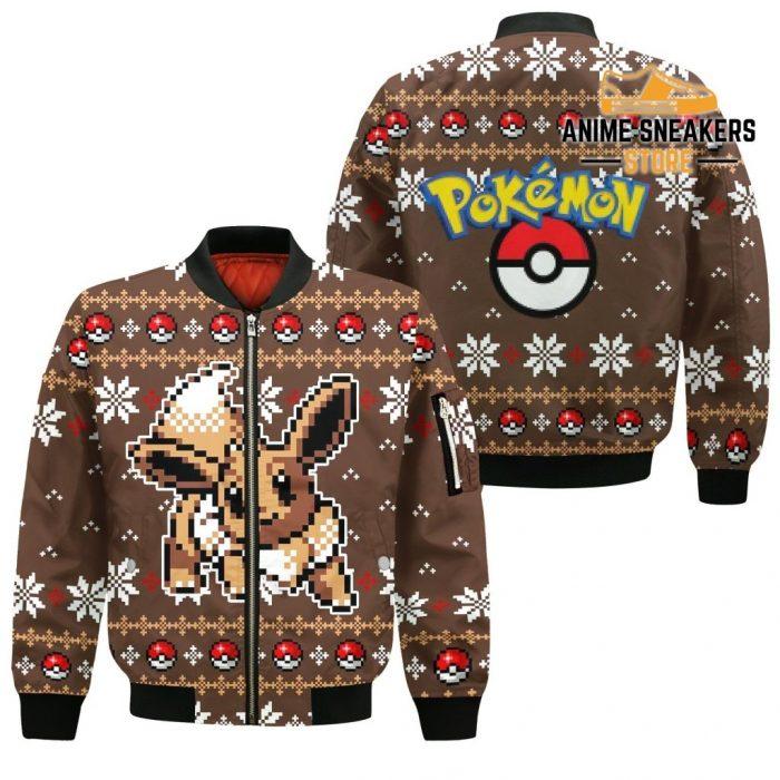 Pokemon Ugly Christmas Sweater Custom Eevee Xmas Gift Bomber Jacket / S All Over Printed Shirts