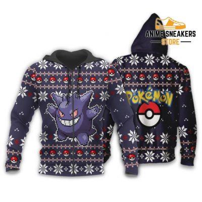 Pokemon Ugly Christmas Sweater Custom Gengar Xmas Gift Zip Hoodie / S All Over Printed Shirts