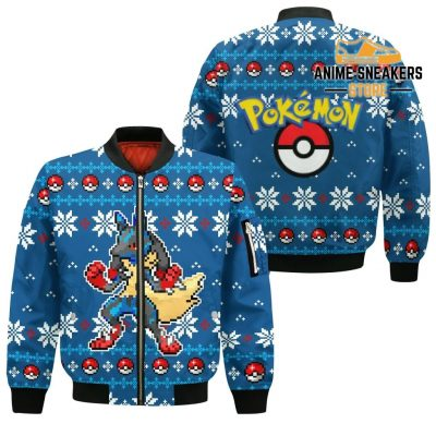 Pokemon Ugly Christmas Sweater Custom Lucario Xmas Gift Clothes Bomber Jacket / S All Over Printed
