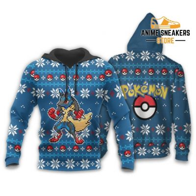 Pokemon Ugly Christmas Sweater Custom Lucario Xmas Gift Clothes Hoodie / S All Over Printed Shirts