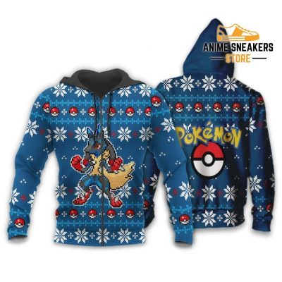 Pokemon Ugly Christmas Sweater Custom Lucario Xmas Gift Clothes Zip Hoodie / S All Over Printed