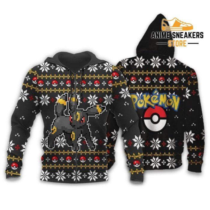 Pokemon Umbreon Ugly Christmas Sweater Custom Xmas Gift Zip Hoodie / S All Over Printed Shirts