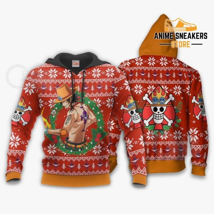 Portgas Ace Ugly Christmas Sweater One Piece Anime Xmas Gift Va10 Hoodie / S All Over Printed Shirts