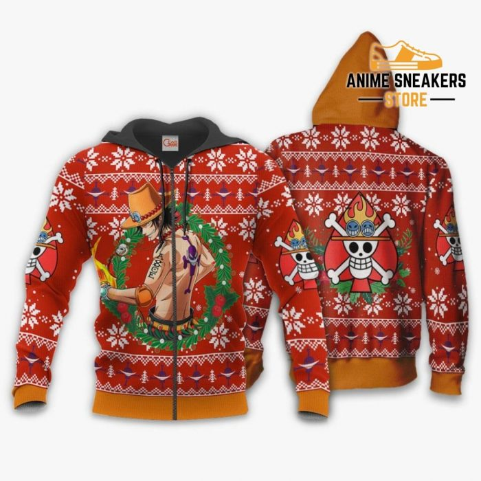 Portgas Ace Ugly Christmas Sweater One Piece Anime Xmas Gift Va10 Zip Hoodie / S All Over Printed