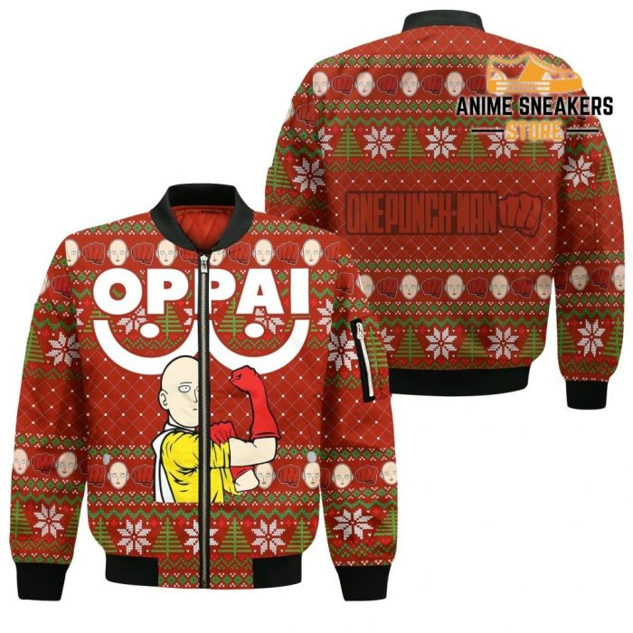 Saitama Oppai Ugly Christmas Sweater One Punch Man Anime Xmas Gift Bomber Jacket / S All Over