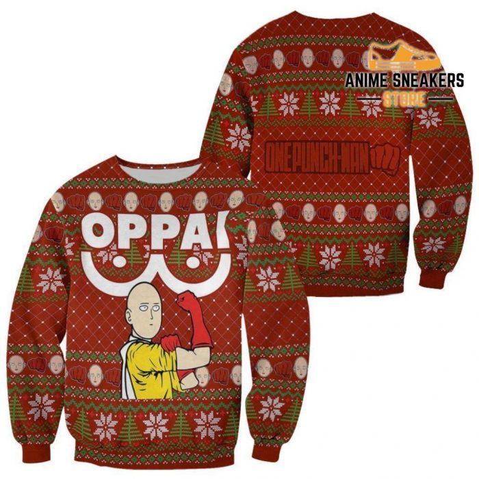 Saitama Oppai Ugly Christmas Sweater One Punch Man Anime Xmas Gift / S All Over Printed Shirts
