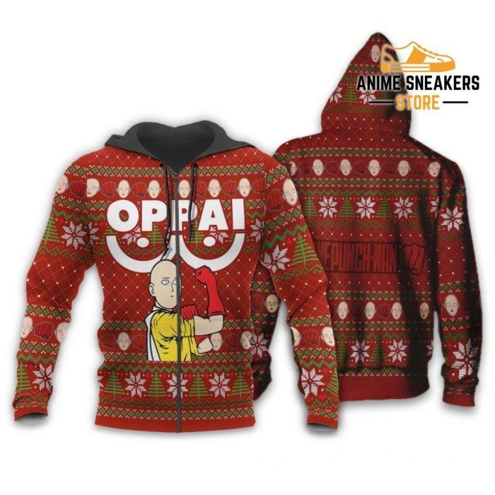 Saitama Oppai Ugly Christmas Sweater One Punch Man Anime Xmas Gift Zip Hoodie / S All Over Printed