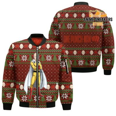 Saitama Ugly Christmas Sweater One Punch Man Anime Xmas Gift Custom Clothes Bomber Jacket / S All