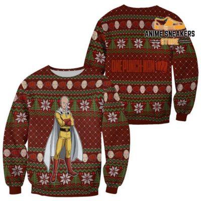 Saitama Ugly Christmas Sweater One Punch Man Anime Xmas Gift Custom Clothes / S All Over Printed