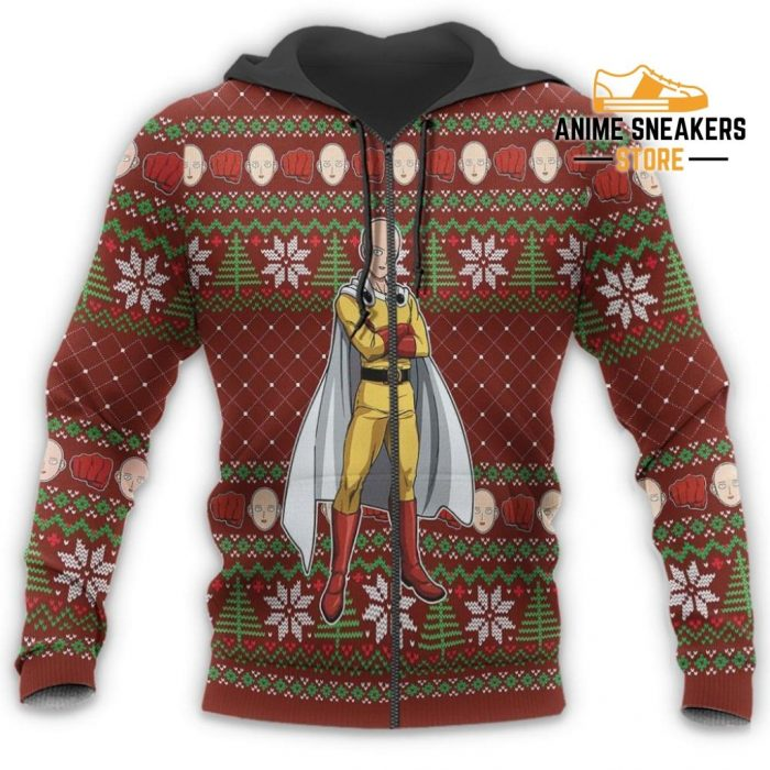 Saitama Ugly Christmas Sweater One Punch Man Anime Xmas Gift Custom Clothes Zip Hoodie / S All Over