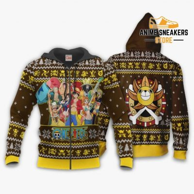 Straw Hat Pirates Ugly Christmas Sweater One Piece Anime Xmas Gift Va10 Zip Hoodie / S All Over
