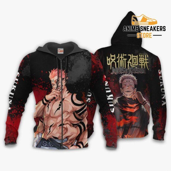 Sukuna Hoodie Shirt Jujutsu Kaisen Custom Anime Jacket Zip / S All Over Printed Shirts