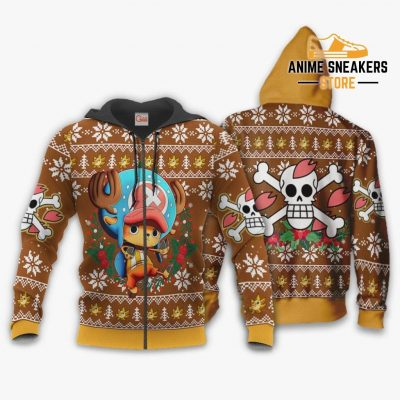 Tony Chopper Ugly Christmas Sweater One Piece Anime Xmas Gift Va10 Zip Hoodie / S All Over Printed