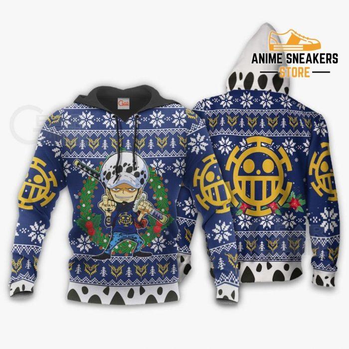 Trafalgar Law Ugly Christmas Sweater One Piece Anime Xmas Gift Va10 Hoodie / S All Over Printed