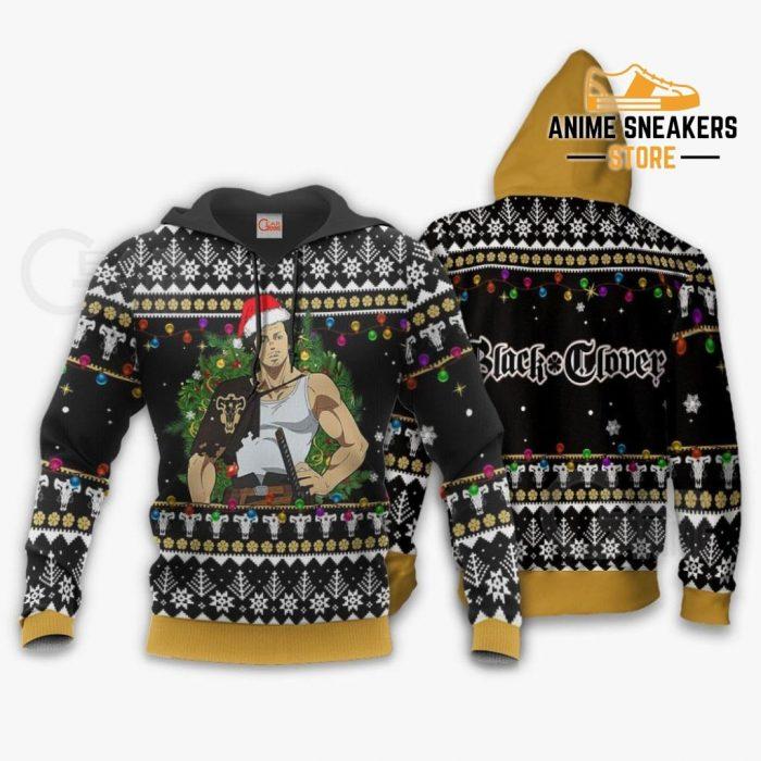 Yami Sukehiro Ugly Christmas Sweater Black Clover Anime Xmas Gift Va11 Hoodie / S All Over Printed