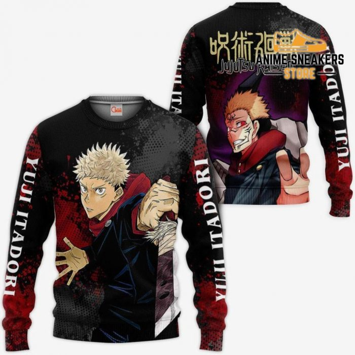 Yuji Itadori Hoodie Shirt Jujutsu Kaisen Custom Anime Jacket Sweater / S All Over Printed Shirts
