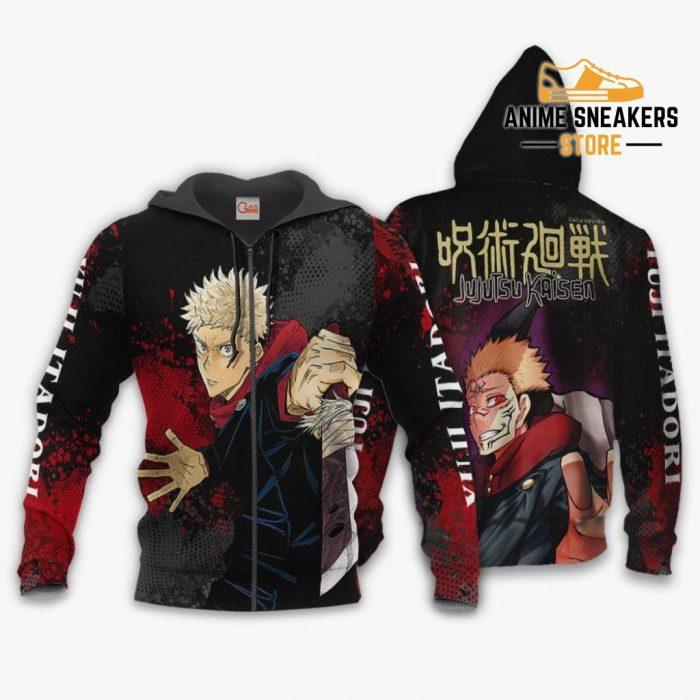 Yuji Itadori Hoodie Shirt Jujutsu Kaisen Custom Anime Jacket Zip / S All Over Printed Shirts