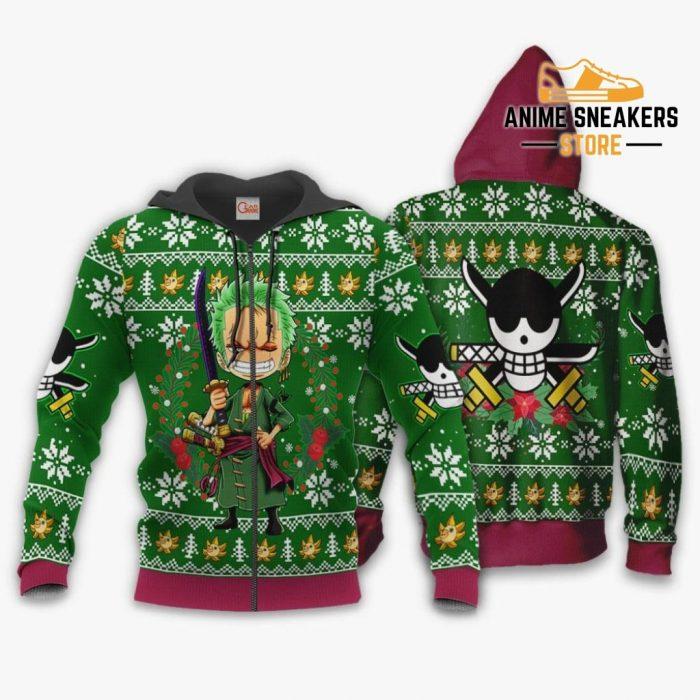 Zoro Ugly Christmas Sweater One Piece Anime Xmas Gift Va10 Zip Hoodie / S All Over Printed Shirts