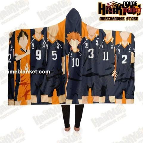haikyuu karasuno high school hooded blanket adult premium sherpa aop 206 - Anime Sneakers Store